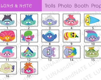 17 Trolls Masks- Party Photo Booth Prop