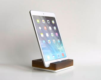 Wood iPad Stand / Wood Tablet Stand / Universal Docking Station for iPad, iPhone, smartphone, tablet - Solid Walnut Wood
