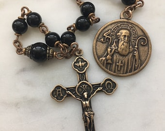 Pocket Rosary - St. Benedict - Black Onyx Gemstones - Bronze