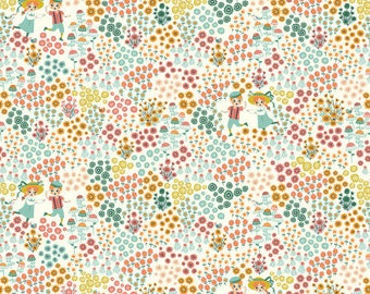 SALE: Organic fabric, Knit Birch Organic Fabric, Hidden Garden fabric, Meadow frolic, Floral fabric, garden fabric, knit fabric