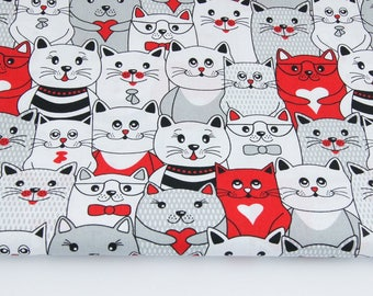 Cotton 100% cotton fabric printed 50 x 160 cm , grey and red cats on gray background