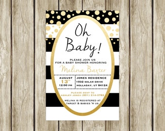 Oh Baby! Baby Shower Invitation, Baby Shower Invite, Black White and Gold Baby Shower, Printable Baby Shower Invitation, Digital Invite, 014
