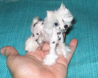 Pet gift Needle Felted Dog / Custom Miniature Sculpture of your pet / Cute/ poseable by Gourmet Felted / example Chinese Crested