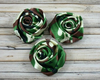 "Camo Satin Rolled Rosette Flowers - 2"" - Set of 3 - Camouflage - DIY Rose"