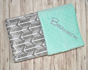 Monogrammed Baby Blanket - Minky Mint Green and Gray Arrow / Archer,  Personalized Tribal Blanket with Name Newborn, Neutral Baby Gift