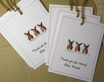 Bunny Tails Party Favor Gift Tags. Watercolor Print, Custom for Baby Shower, New Baby, Birthday Party. Customized Sets of 6-12