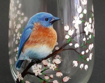 Blue Bird Wine Glass Hand Painted White Cherry Blossom Spring Glassware Unique Gift Nature Lover Birdwatcher Flowering Tree Pretty Bar Decor