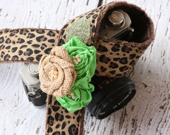 Leopard Camera Strap. dSLR Camera Strap. Burlap Camera Strap. Cute Camera Strap. Camera Strap. Camera Neck Strap. SLR Camera Strap.