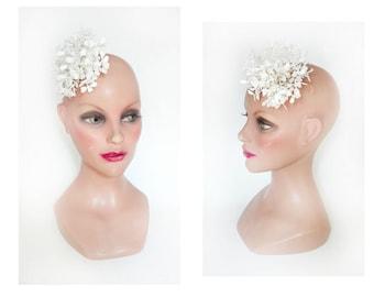 Bibi white bridal flower, wedding, baptism, communion bridal fascinator hair comb women Hat
