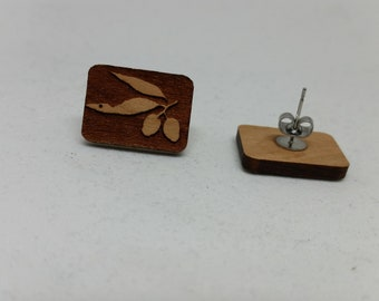 Eucalyptus Gumnut- Australian Wildflower - Surgical Steel stud earrings - Wood Laser Cut - Wood Earrings