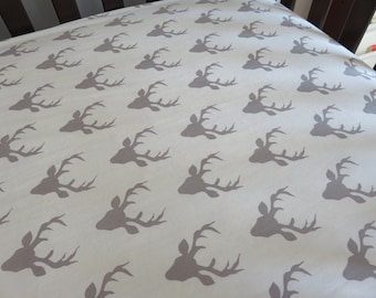 Deer Crib Sheet, Gray Crib Sheet or Changing Pad Cover, Stag Bedding, Deer Head Bedding, Woodland Bedding, Nursery Decor