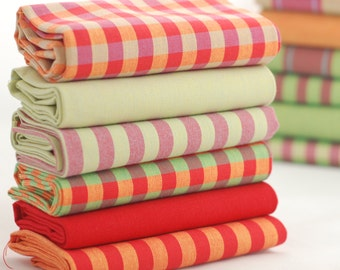 Fat quarter fabric bundle - bright bold checks stripes and solids - 100 % cotton - patchwork quilt doll toy cushion purse