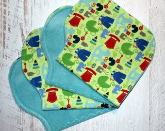 Burp Cloth Set Baby Shower Gift Set of Four Contoured Burp Cloths, Burp Rags, Gift for Boy Flannel Cotton Velour Very Absorbent Ready to Shi