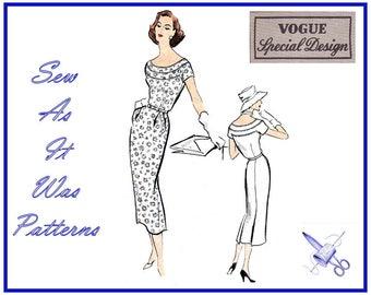 "1950s Vogue Special Design S-4788 4788 Slim Sheath Scoop Neckline Dresses Back Pleats Vintage Sewing Pattern Size 16 Bust 36"" 92cm"