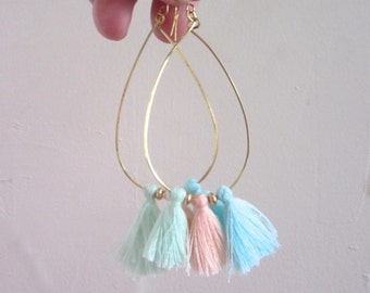 Pastel Tassel Hoop Earrings