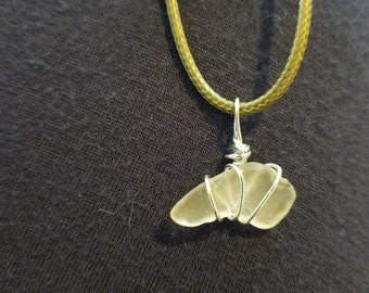 Clear sea glass with silver wire