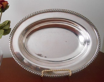 Vintage Silver Plated Serving Bowl Wedding Decor Vintage Wedding Decor Oval Silver Bowl Vintage Silver Oval Metal Bowl