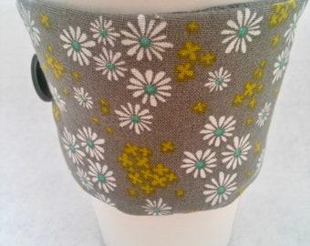 Coffee Cozy, Coffee sleeve, Coffee Cup Cozy, Daisy's Coffee Cozy, Gray Coffee Cup Cozies, Fabric Coffee Cozy, Daisy's Floral Coffee Cozy,