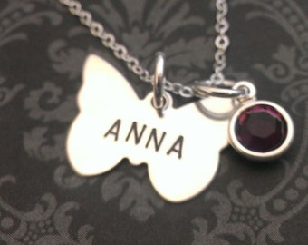 Hand Stamped Jewelry - Personalized Necklace - Gift for Her - Dainty Necklace - Butterfly Necklace - Say Anything Jewelry