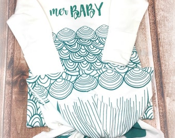 Mer Baby Gown, Mermaid Infant Gown, Baby Mermaid Gown, Infant Mermaid Gown, New Baby Gift, Take Home Outfit, Baby Shower Gift, Baby Gown