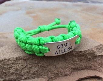 Child Medic Alert Allergy bracelet- adjustable