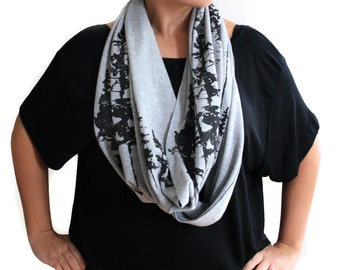 Heather Gray Jersey Infinity Scarf with Evergreen Trees Screenprint