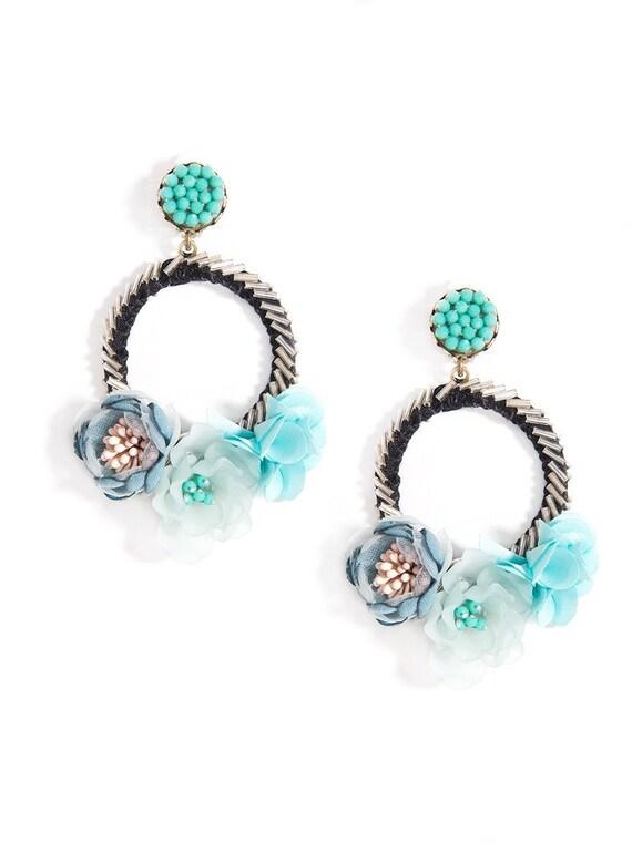 Emma Mixed floral Hoop Drop Statement Earring
