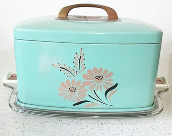 REDUCED Vintage Teal Cake Saver With Glass Bottom and Copper Accents Retro Kitchen Ransburg