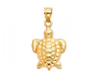 14K Solid Yellow Gold Turtle Pendant - Good Luck Lucky Polished Necklace Charm