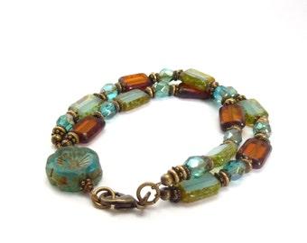 Blue & Brown Picasso Glass Bracelet - Rectangle Beads - Carved Glass Flower - Multistrand Bracelet - Bohemian Stacking Bracelet