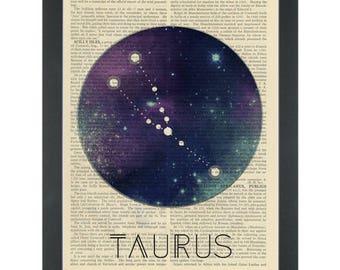 Zodiac Taurus constellation Dictionary Art Print