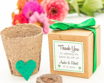 12 Plantable Seed Paper Heart Flower Garden Gift - Personalized for Wedding or Bridal Shower - 100% Biodegradable Eco Friendly Wedding Favor