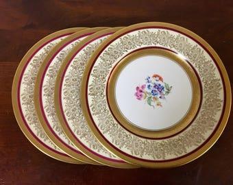 Edgerton China Gold Encrusted Dinner Plates - Set of 4