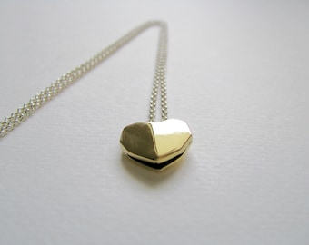 Heart Geometric Necklace-Gold Heart Necklace-Geometric Heart Necklace-Valentine's Gift-Geometric Heart-Contemporary Jewellery