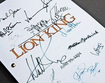 The Lion King Film Movie Script with Signatures / Autographs Reprint Disney Unique Gift Screenplay Present TV Fan Geek Simba Classic