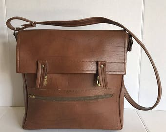 Vintage Brown Vinyl Vegan Shoulder Bag Carry On Luggage