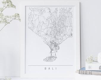 BALI MAP - High Quality Giclee Print, Minimalist Bali Art Print, Customizable City Map