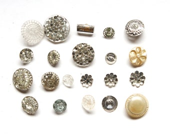 Supplies - Shabby Glass Button Lot, Mirrored buttons, clear glass buttons, vintage buttons, glass buttons, pearl glass buttons, LOT 1