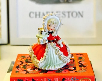 Vintage Inarco Napco Lefton Christmas December Girl with Presents Red Dress Spaghetti Trim Figurine Japan Midcentury