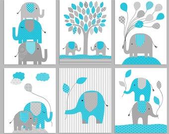 Elephant Nursery Decor, Grey and Turquoise, Baby Girl Decor, Baby Boy Room, Boy Elephant Art, Gender Neutral, Elephant Prints, Baby Wall Art