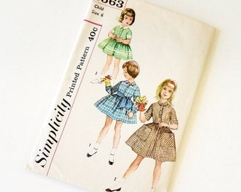 SALE Vintage 1960s Girls Size 6 One Piece Full Skirt Shirtdress and Tie Belt Simplicity Sewing Pattern 3563 Complete / bust 24 waist 22
