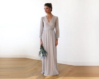 Sparkly Light Grey Crossover Maxi Dress With Belt, Sparkly Chiffon Maxi wrap dress 1168