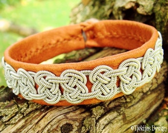 Sami VIKING Bracelet Cuff Custom Handmade Bark Tanned Reindeer Leather with Spun Pewter Knot Braid and Antler Button