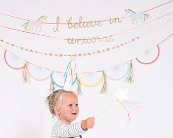 Unicorn garland. Unicorn birthday banner. Unicorn and rainbow party-party accessories. Birthday. Party banner. Unicorn banner