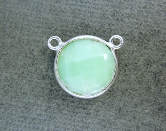Gemstone Connector- Chrysoprase Station Round Connector - 12mm Sterling Silver Bezel Link - Double Bail Charm Pendant (WD-01)