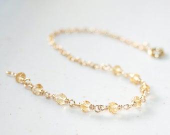 Dainty Citrine Bracelet, 14K Gold Filled, Layering Bracelet, Minimalist Bracelet, November Birthstone, Small Gemstone Bracelet, Stackable