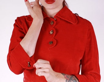 SALE 40s 50s Dress - Novelty Red Corduroy with LOCK and KEY Buttons - Small