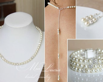 Back necklace jewelry set, pearl back necklace, wedding backdrop necklace, bridal necklace, backwards necklace, back jewelry e02-b29-n34-bd