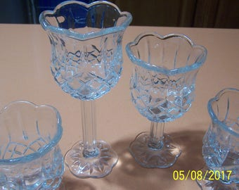 Homco Clear Glass Candle Holders (Set of 4)