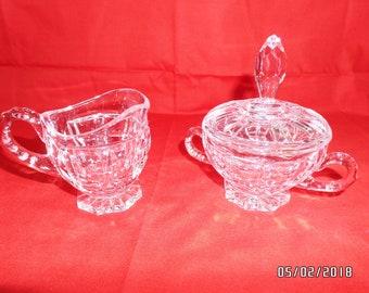 Vintage Crystal Sugar & Creamer Set